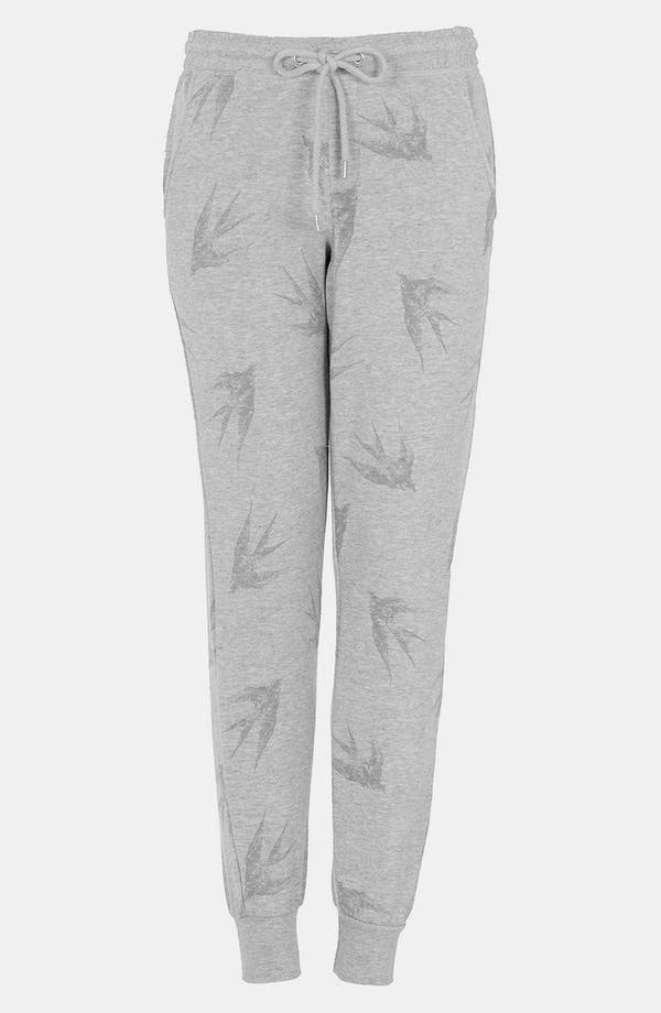 Main Image - Topshop 'Swallow' Print Tapered Sweatpants
