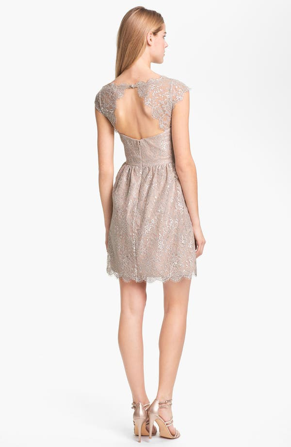 Alternate Image 2  - Aidan Mattox Metallic Lace Fit & Flare Dress