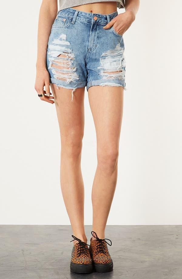 Main Image - Topshop Destroyed Denim Shorts