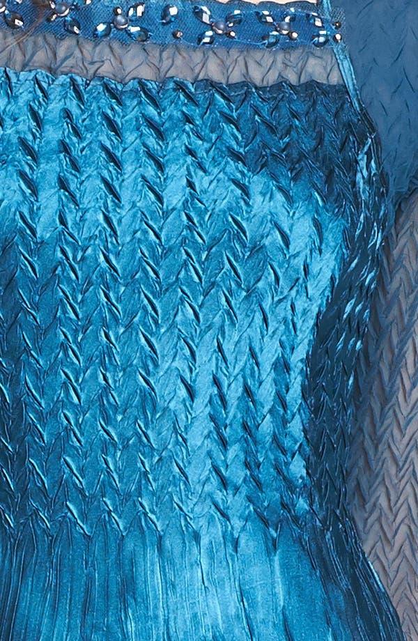 Alternate Image 3  - Komarov Sheer Sleeve Textured Charmeuse Dress
