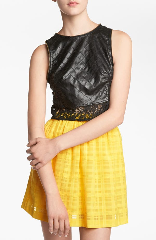 Alternate Image 1 Selected - ASTR Faux Leather Crop Top
