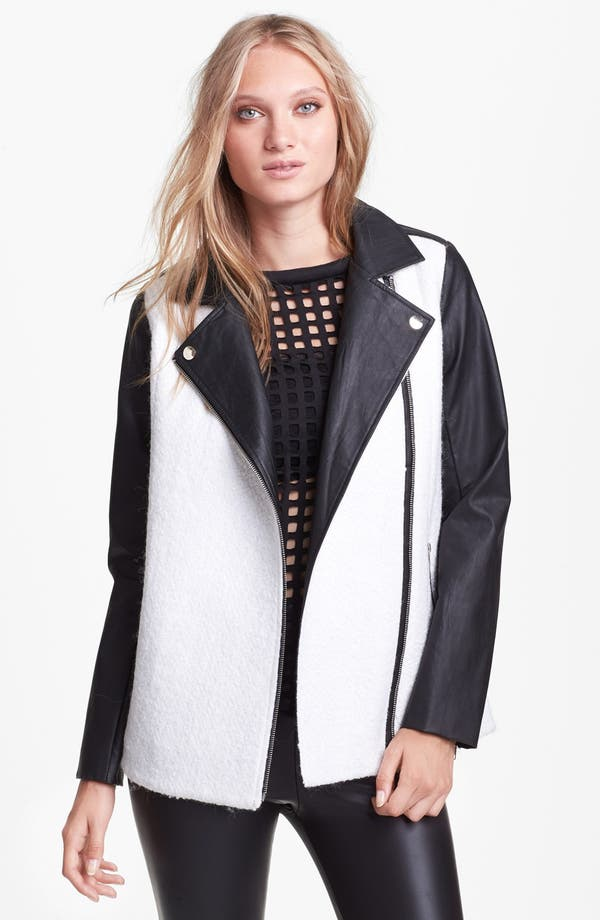 Alternate Image 1 Selected - ASTR Oversized Bouclé Moto Coat