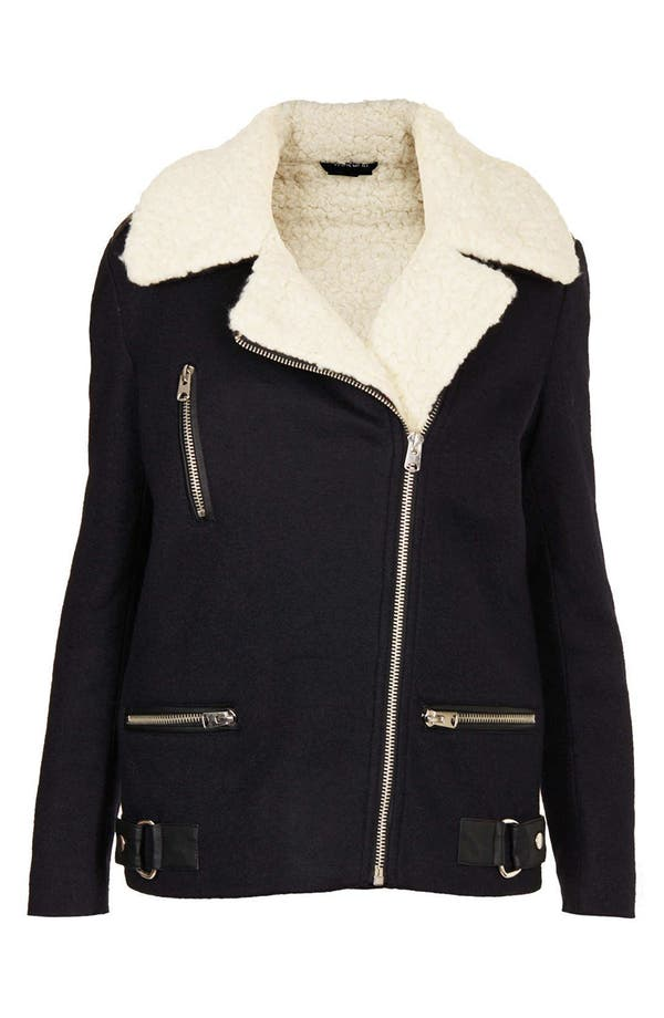 Alternate Image 3  - Topshop Wool Biker Jacket