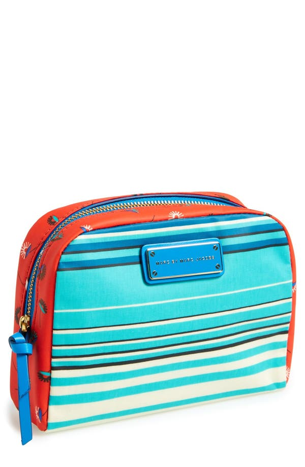 Main Image - MARC BY MARC JACOBS 'Large' Stripe Coated Cotton Cosmetics Case