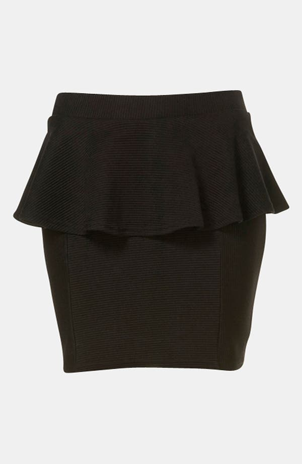 Alternate Image 2  - Topshop Ribbed Peplum Miniskirt