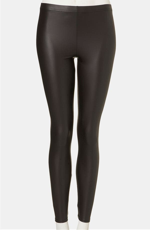 Alternate Image 1 Selected - Topshop Faux Leather Leggings (Petite)
