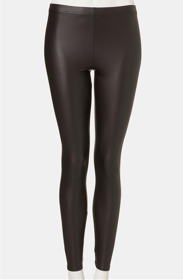 Main Image - Topshop Faux Leather Leggings (Petite)