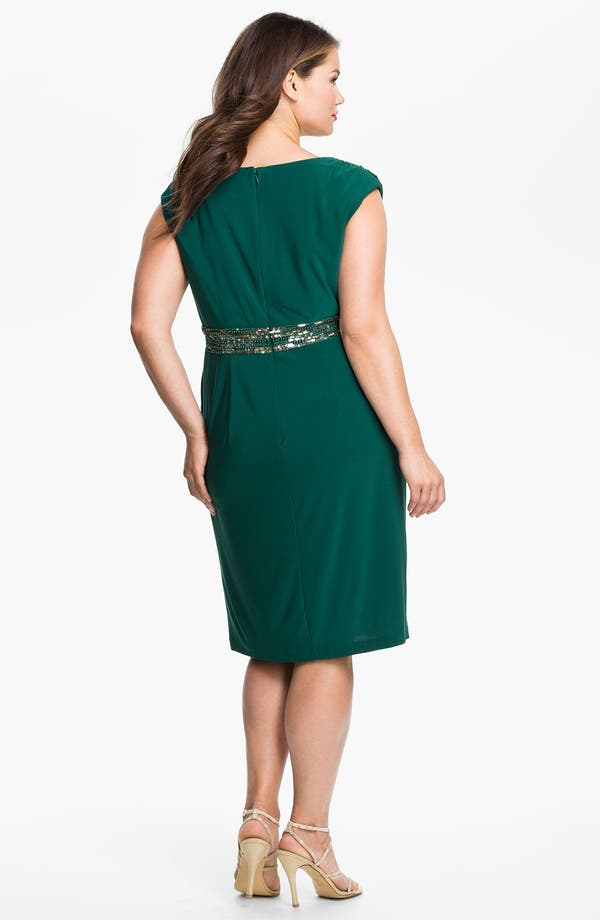 Alternate Image 2  - Alex Evenings Beaded Cap Sleeve Sheath Dress (Plus)