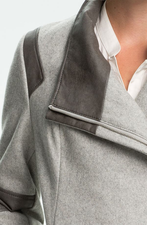 Alternate Image 3  - Calvin Klein Faux Leather Trim Walking Coat