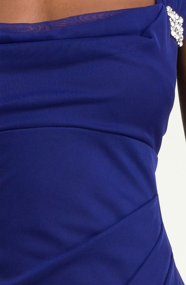 Alternate Image 3  - Xscape Cap Sleeve Draped Mesh Gown