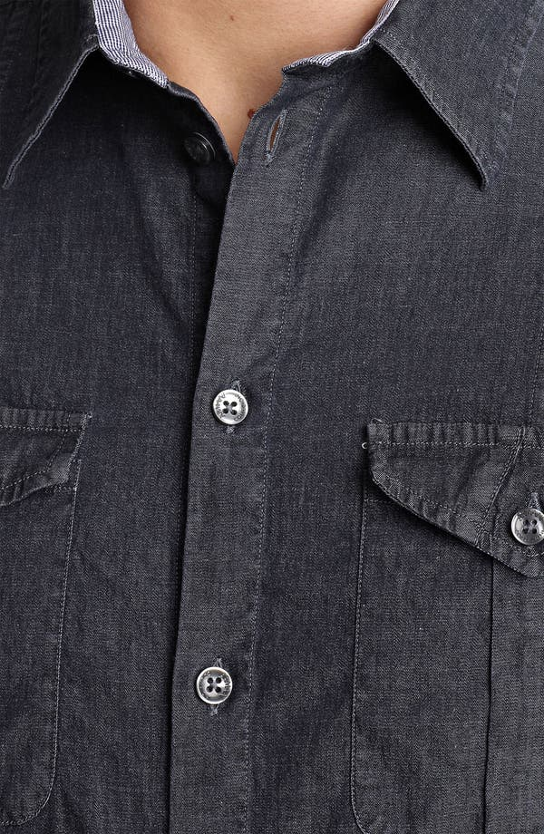 Alternate Image 3  - Armani Collezioni Chambray Woven Shirt