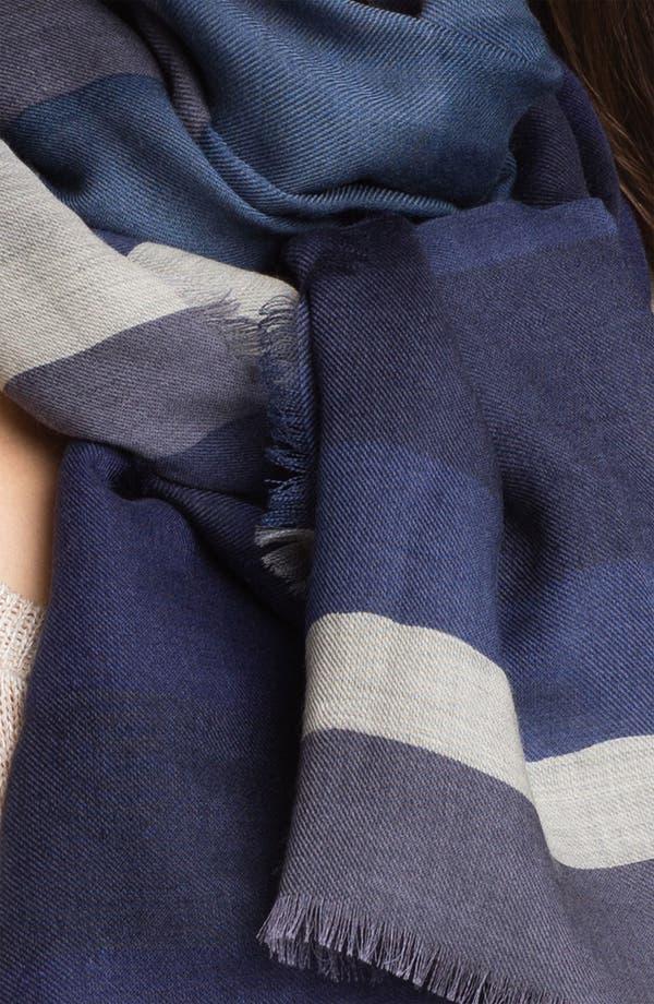 Alternate Image 2  - Burberry Overprinted Stripe Wool & Silk Scarf