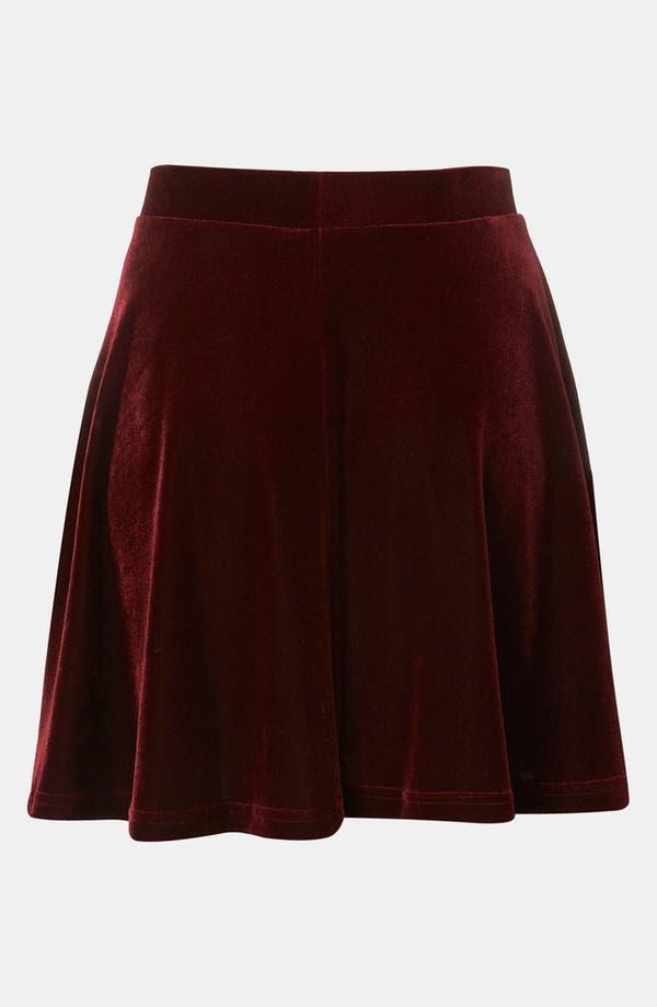 Alternate Image 2  - Topshop Velour Skater Skirt