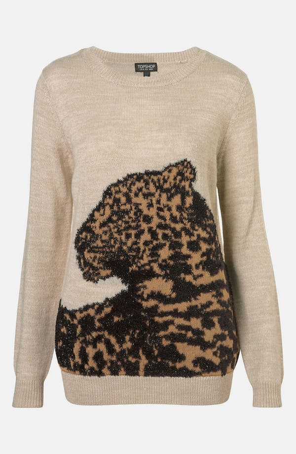 Alternate Image 1 Selected - Topshop 'Sparkle Leopard' Sweater