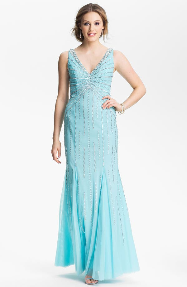 Alternate Image 1 Selected - Sean Collection Embellished Mesh Trumpet Gown (Online Only)