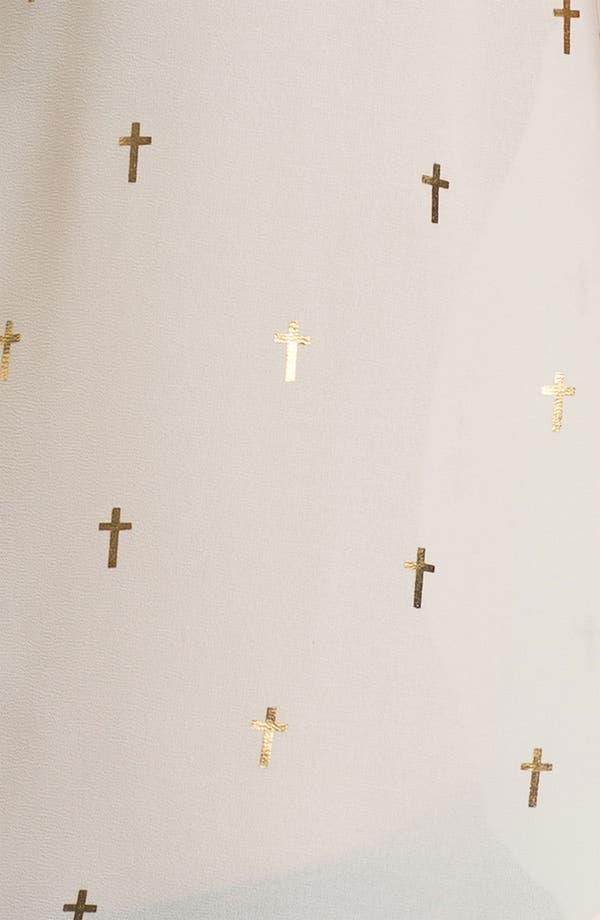 Alternate Image 4  - Elodie Gold Cross Print Chiffon Shirt (Juniors)