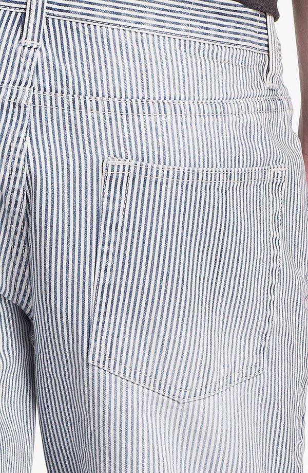 Alternate Image 5  - Topman Slim Fit Stripe Denim Shorts