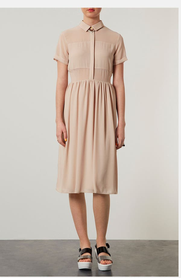 Main Image - Topshop Sheer Panel Shirtdress