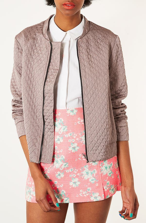 Main Image - Topshop Quilted Oversized Bomber Jacket
