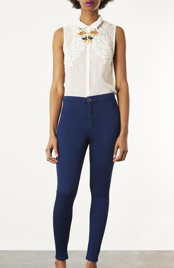 Main Image - Topshop Moto 'Joni' High Rise Skinny Jeans (Blue)