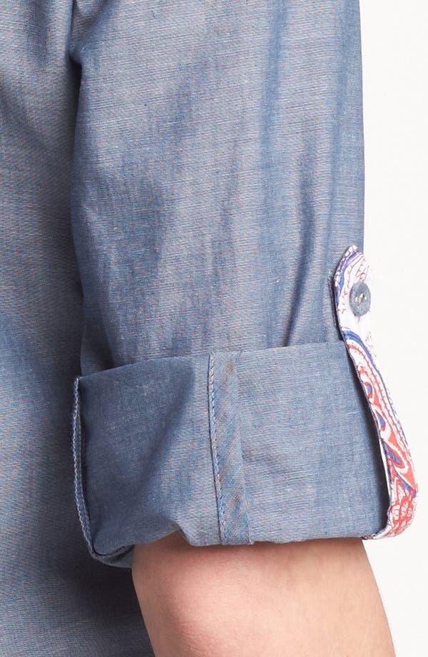 Alternate Image 3  - Foxcroft Chambray Shirt (Petite)