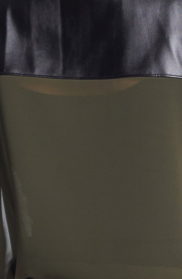 Alternate Image 5  - Halogen® Faux Leather Yoke Tee