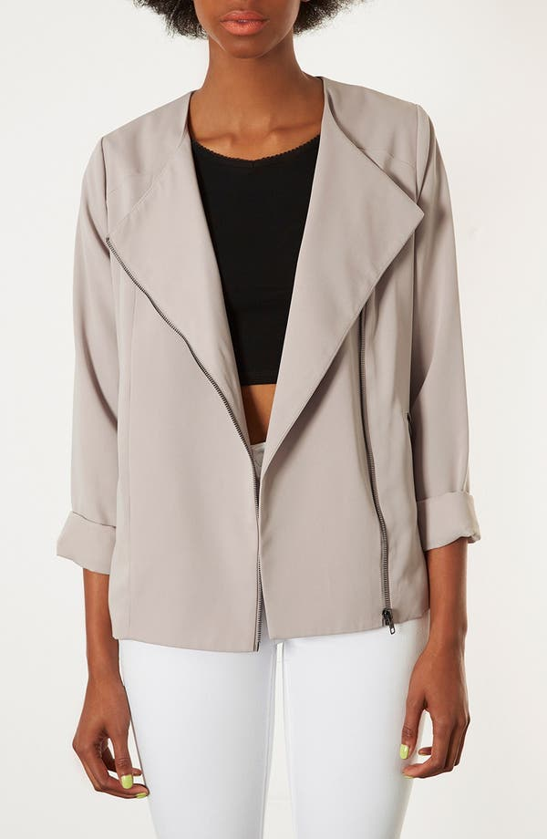 Main Image - Topshop 'Fluid' Oversized Biker Jacket