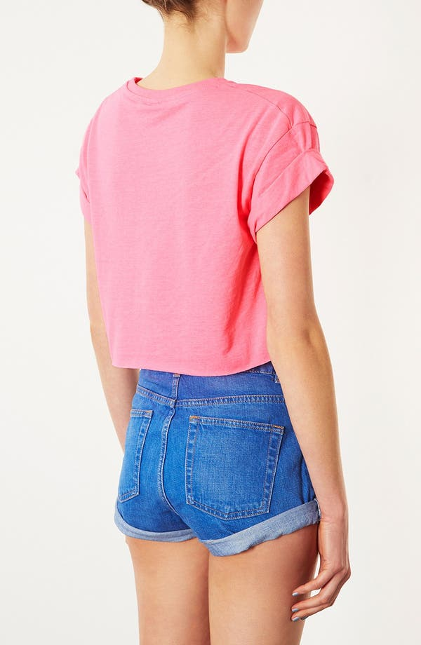 Alternate Image 2  - Topshop Fluorescent Roll Sleeve Tee