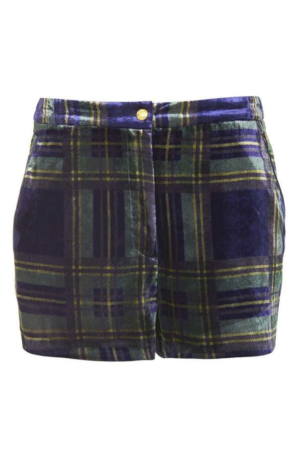 Alternate Image 3  - Topshop Checkered Velvet Shorts