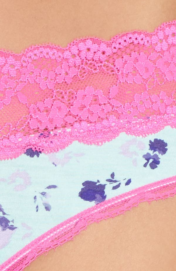 Alternate Image 5  - Honeydew Intimates Lace Trim Low Rise Thong (4 for $30)