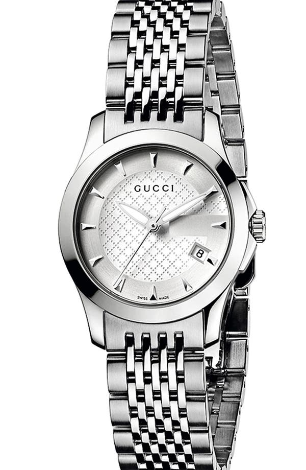Alternate Image 1 Selected - Gucci 'G Timeless' Stainless Steel Bracelet Watch, 27mm (Regular Retail Price: $790.00)