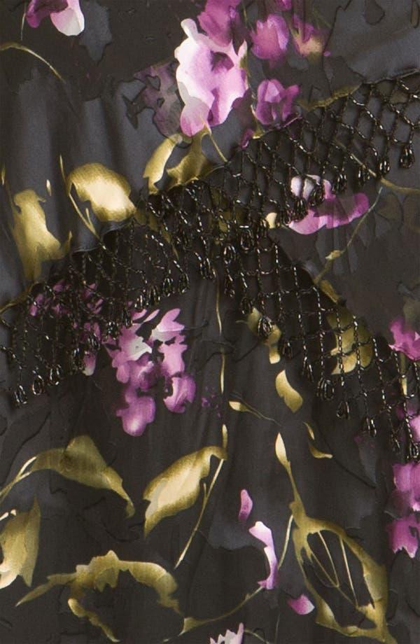 Alternate Image 3  - Alex Evenings Floral Print Mixed Media Dress & Fringed Shawl