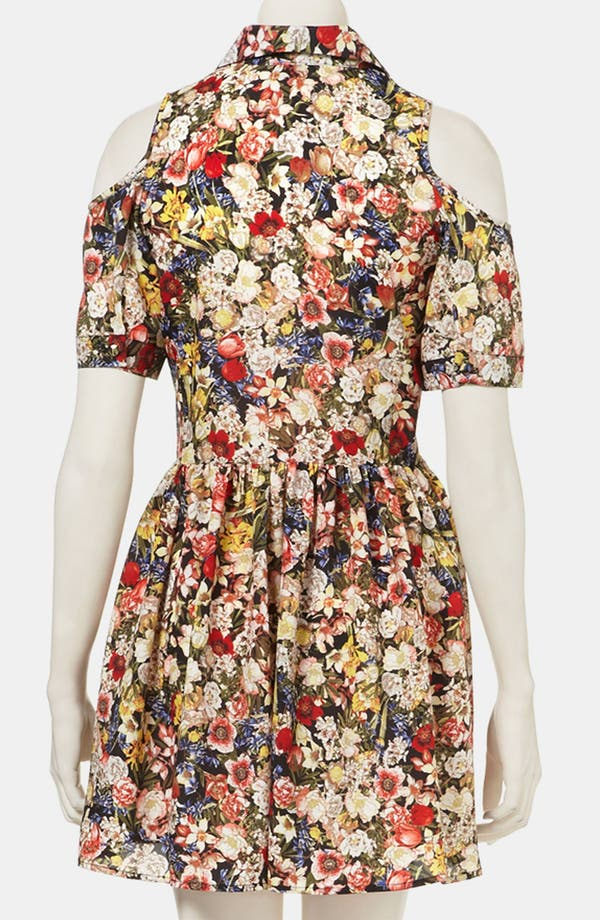Alternate Image 2  - Topshop Floral Cutout Shirtdress