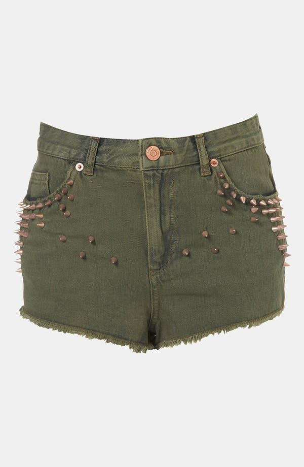 Alternate Image 1 Selected - Topshop Moto Studded Cutoff Denim Shorts