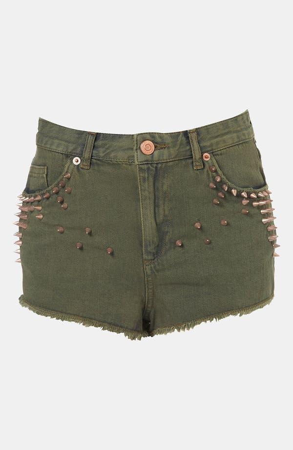 Main Image - Topshop Moto Studded Cutoff Denim Shorts