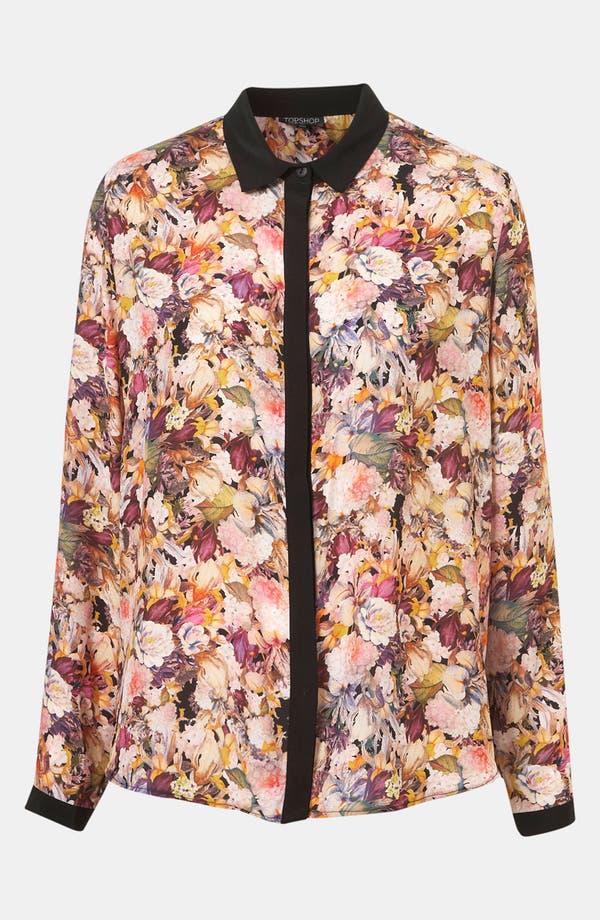 Alternate Image 1 Selected - Topshop 'Iris Bloom' Contrast Trim Shirt