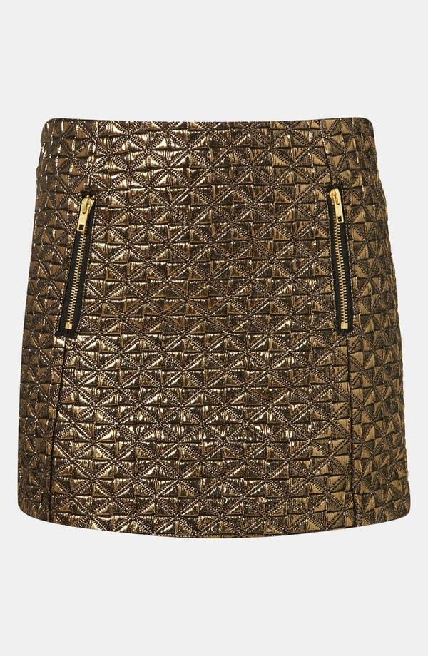 Main Image - Topshop Metallic Jacquard Miniskirt