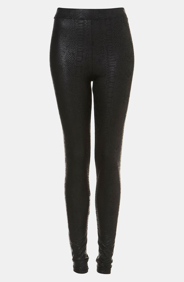 Main Image - Topshop Snake Print Faux Leather Leggings