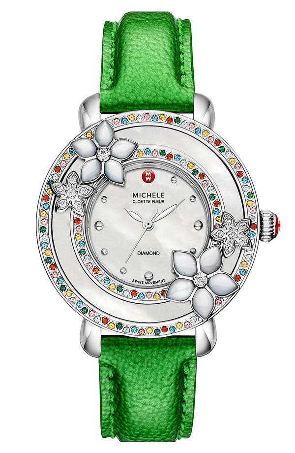 Alternate Image 2  - MICHELE 'Cloette Fleur' Colored Stone Watch Case, 38mm