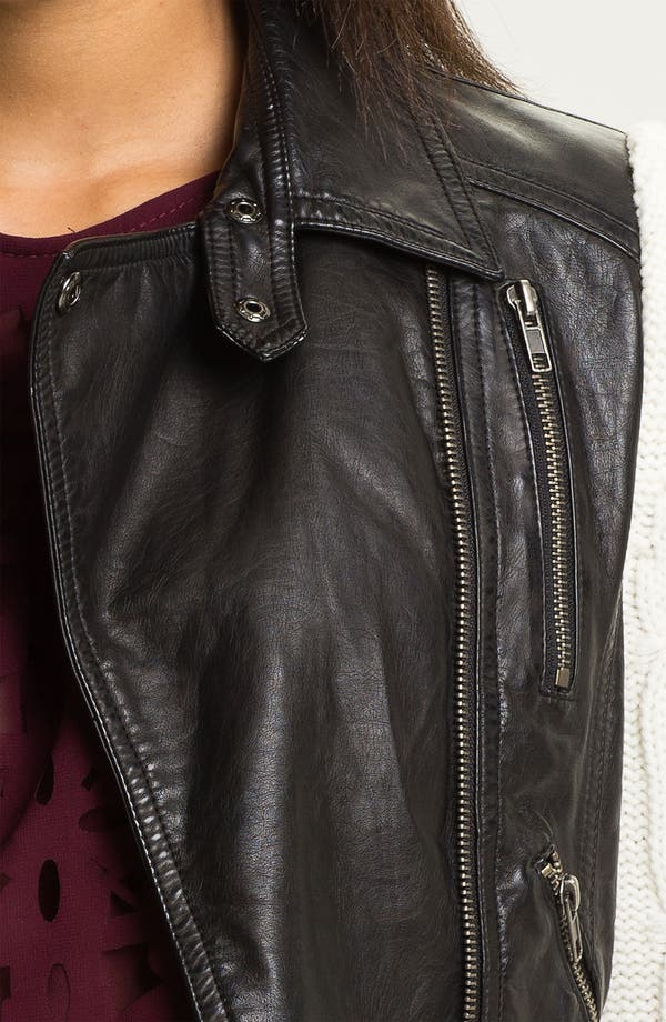 Alternate Image 3  - Two by Vince Camuto Faux Leather Jacket with Knit Sleeves
