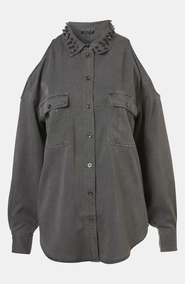 Alternate Image 1 Selected - Topshop Studded Collar Cutout Army Shirt