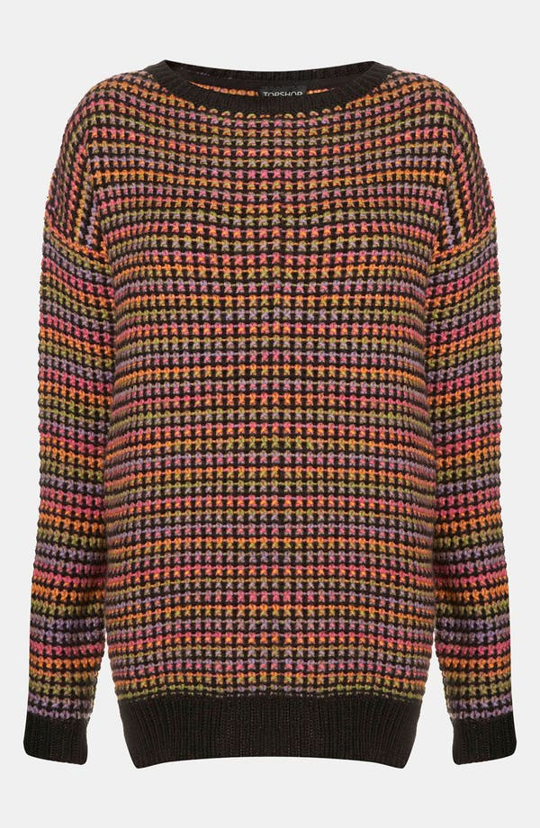Alternate Image 1 Selected - Topshop Rainbow Texture Tunic Sweater