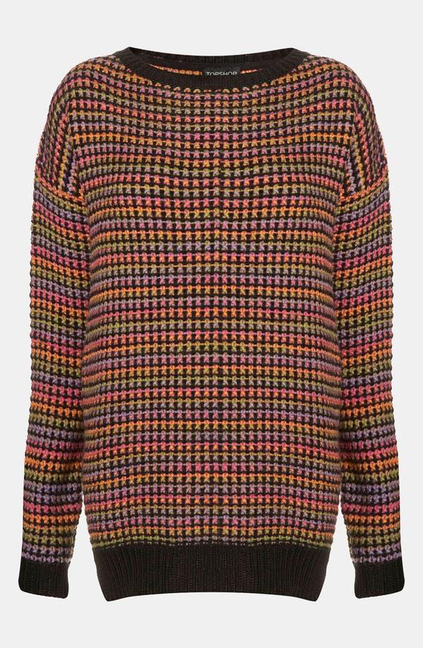 Main Image - Topshop Rainbow Texture Tunic Sweater