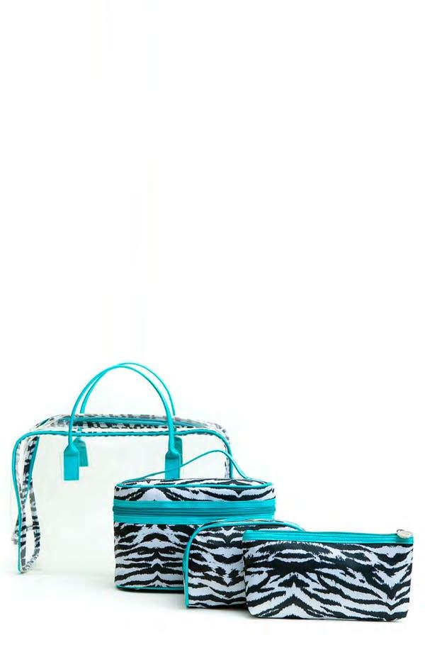 Alternate Image 1 Selected - Tricoastal Design 'Zebra' Cosmetics Bag Set