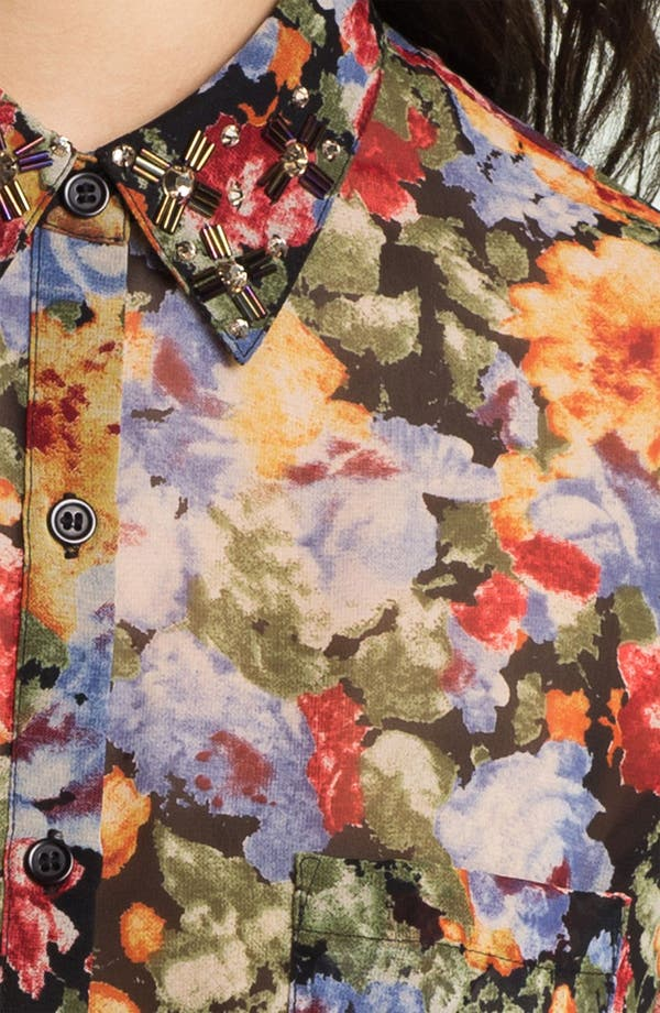 Alternate Image 3  - Bellatrix Embellished Collar Print Chiffon Shirt