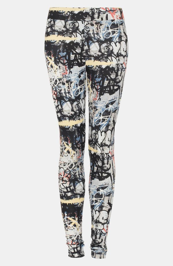 Main Image - Topshop 'Graffiti Scuba' Leggings