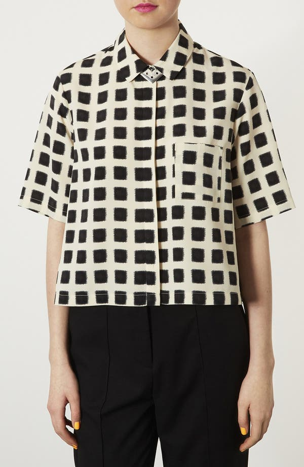 Main Image - Topshop Blurred Square Lace Shirt