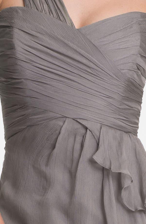 Alternate Image 3  - Amsale One-Shoulder Silk Gown