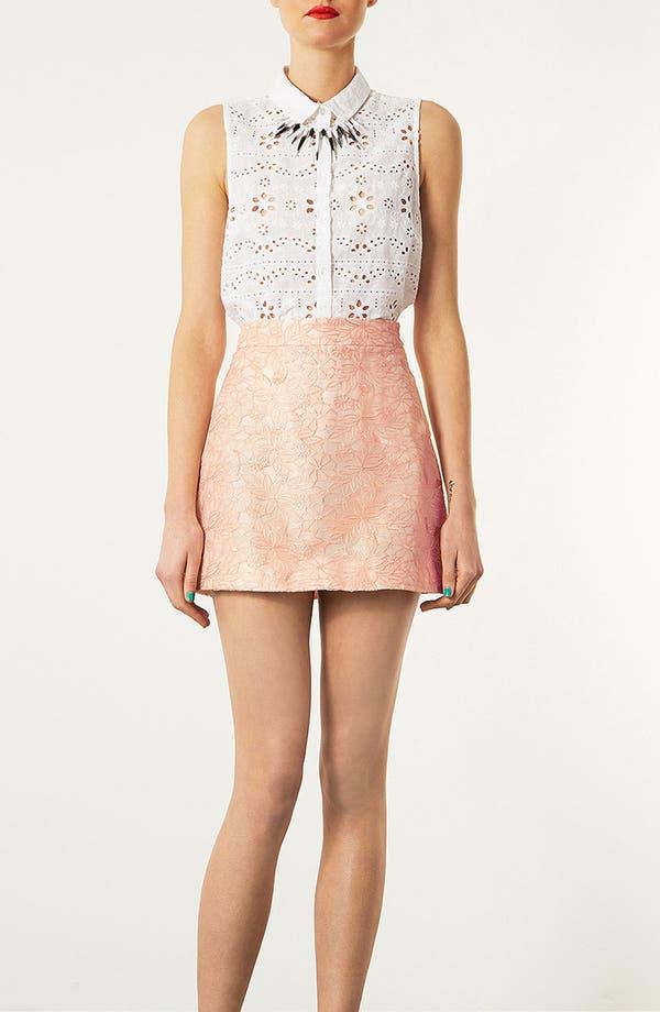 Alternate Image 5  - Topshop Embroidered High Waist A-Line Miniskirt