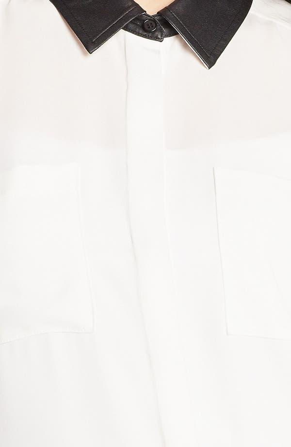 Alternate Image 3  - Halogen® Faux Leather Trim Blouse